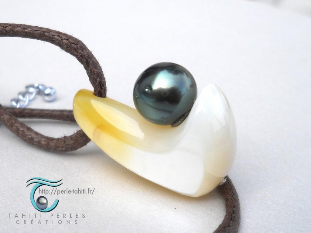 Tahiti Perles Créations Pendentif nacre et perle de Tahiti