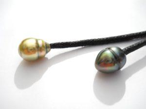 duo de perles cerclees,jaune et verte,collier tahiti perles creations